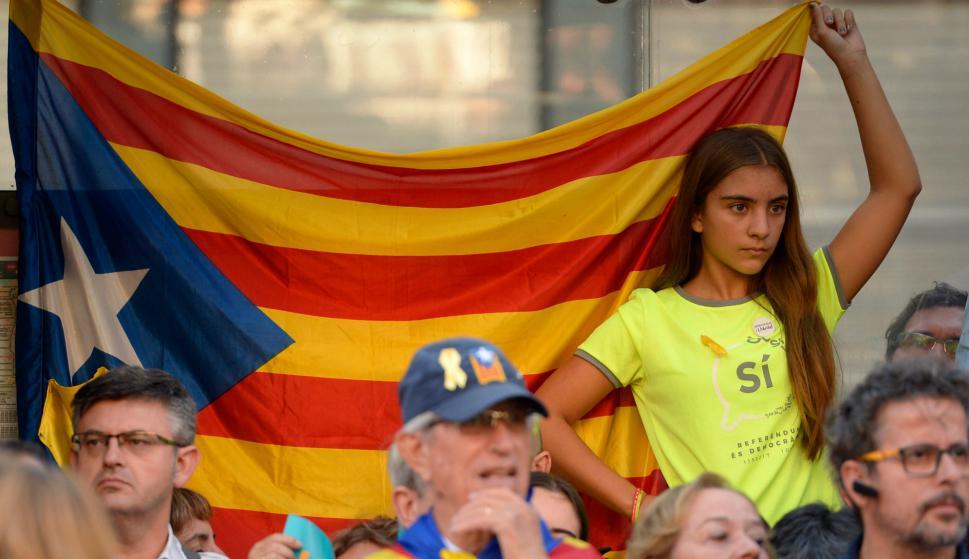 Cerca de medio millón de personas en las calles de Barcelona. Foto: AFP
