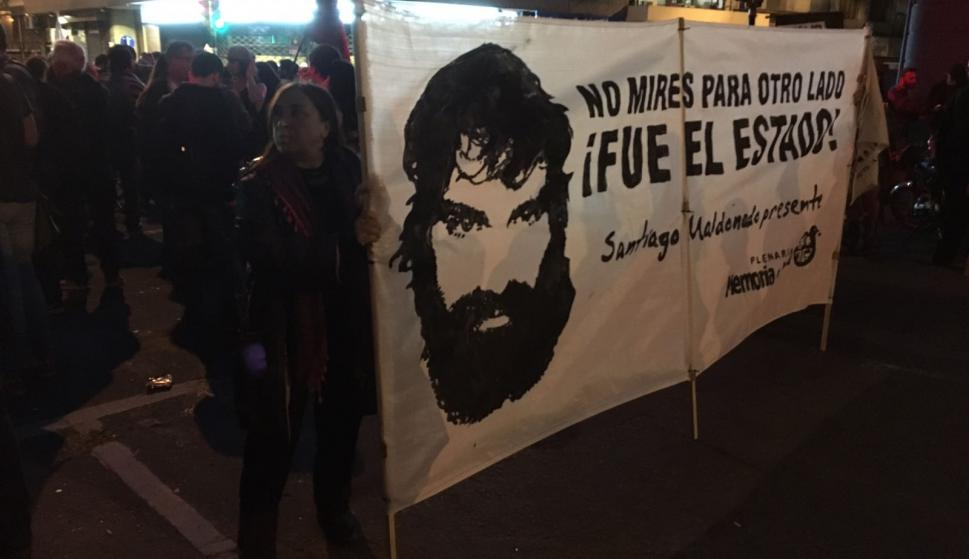 Marcha en Uruguay por Santiago Maldonado. Foto: Nicolás González