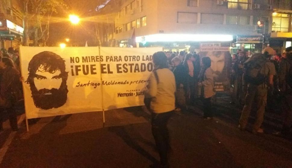 La calle fue cortada debido a la marcha. Foto: Gerardo Pérez