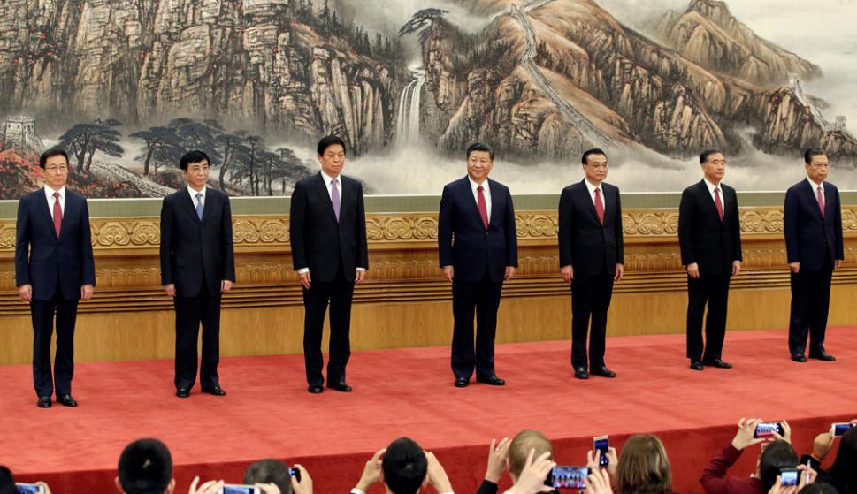 Xi Jinping y el nuevo Buró Político del Partido Comunista Chino. Foto: Reuters