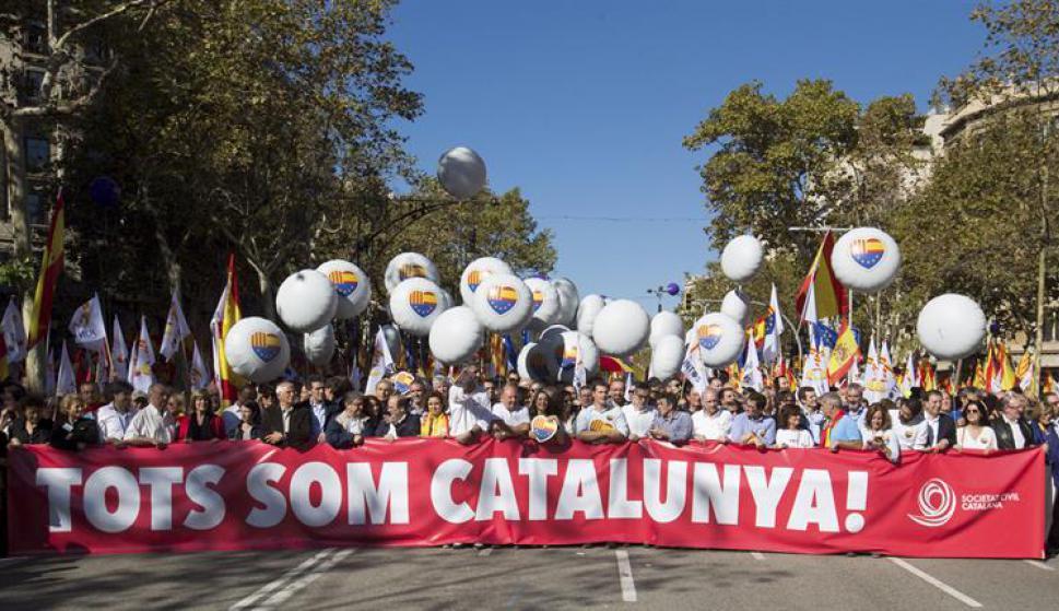 En la cabecera de la manifestación figuraron dirigentes políticos Foto: EFE
