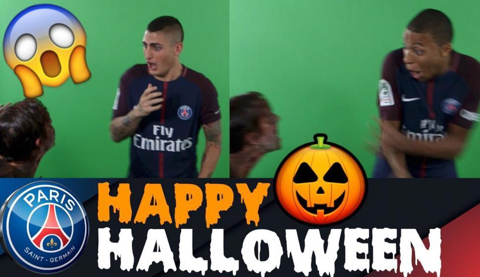 Los sustos de Marco Verratti y Kylian Mbappé del PSG por Halloween. Foto: captura