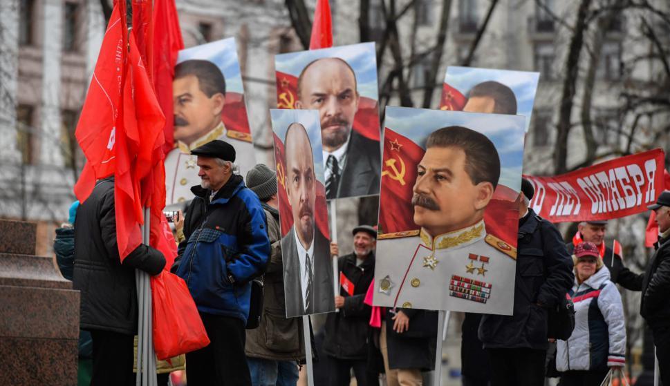 Festejos por el centenario de la Revolución de Octubre en Moscú. Foto: AFP.