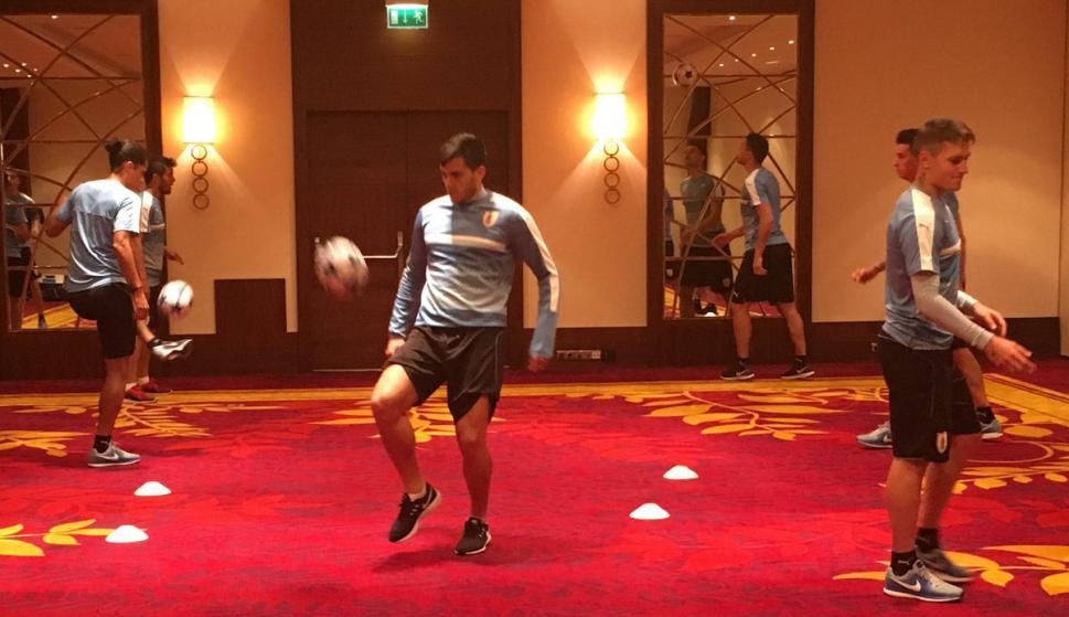 El entrenamiento de Uruguay en el hotel. Foto: @Uruguay