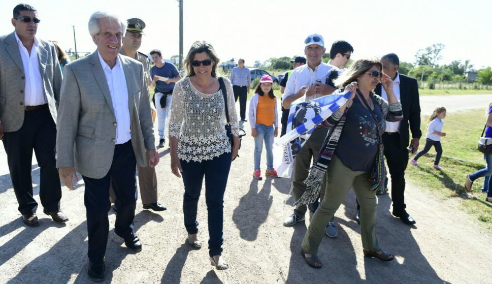 Vázquez arriba a Pirarajá para un nuevo Consejo de Ministros. Foto: Darwin Borrelli.