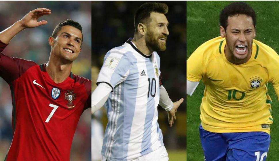 Cristian Ronaldo, Messi y Neymar