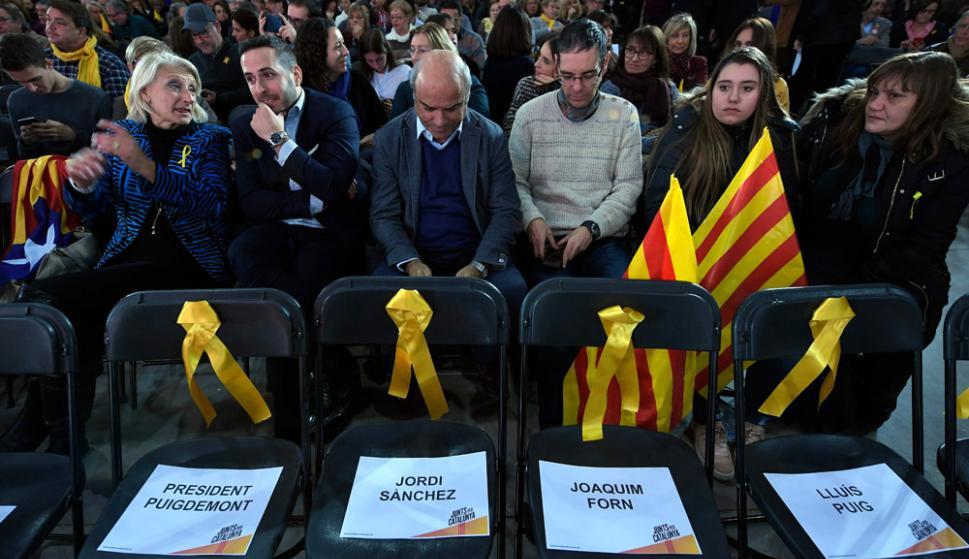 Los partidos catalanes lanzaron anoche sus campañas para las elecciones regionales. Foto: AFP