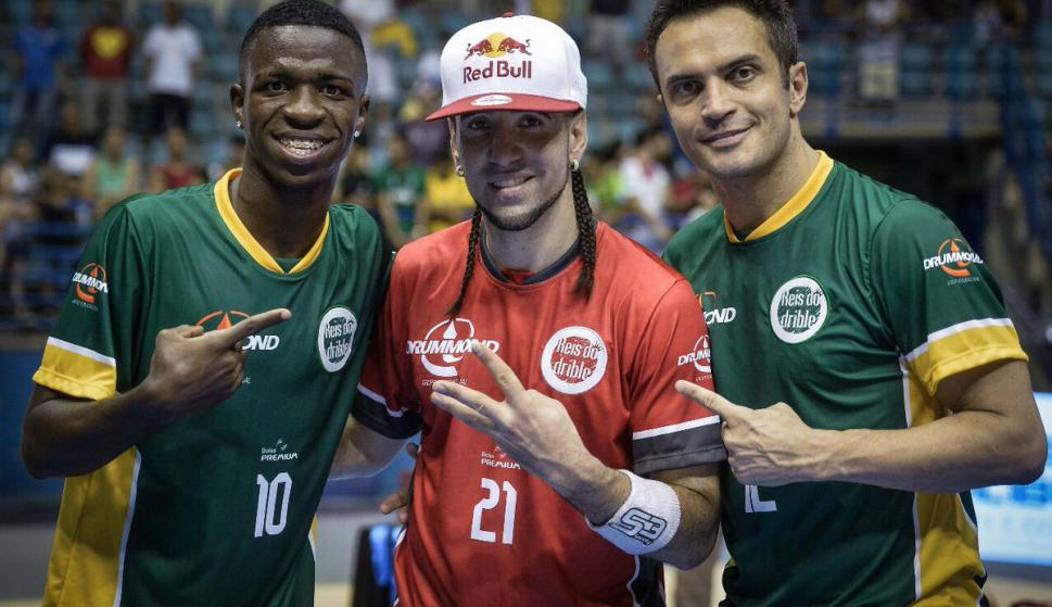 Vinicius Jr, Séan Garnier y Falcão. Foto: @vini11Oficial