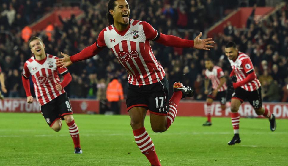 Van Dijk en el Southampton. Foto: AFP