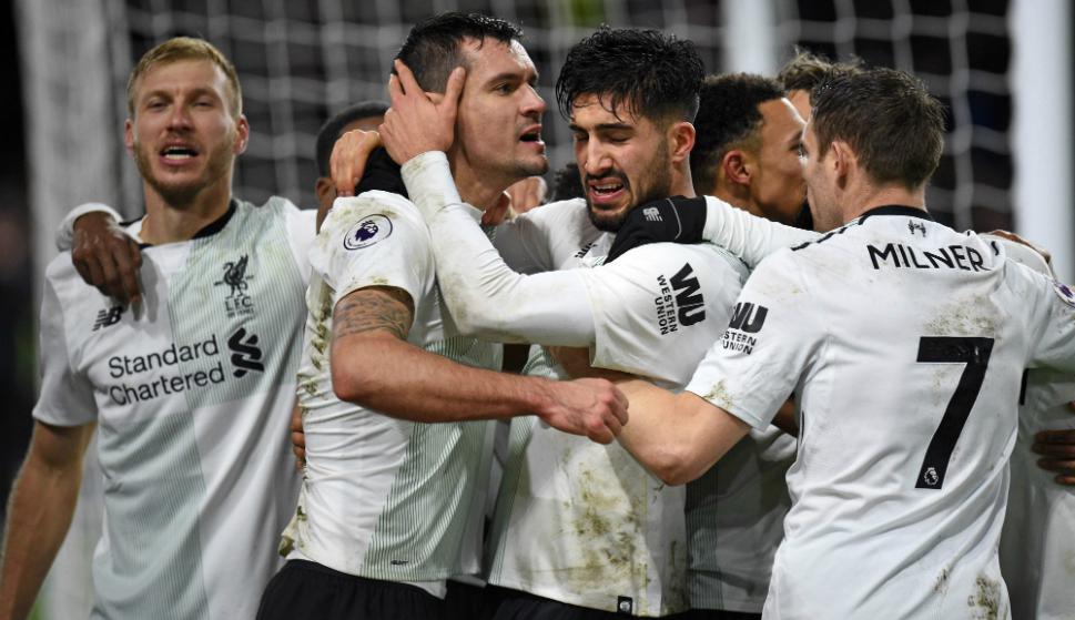 Liverpool festeja ante el Burnley. Foto: AFP