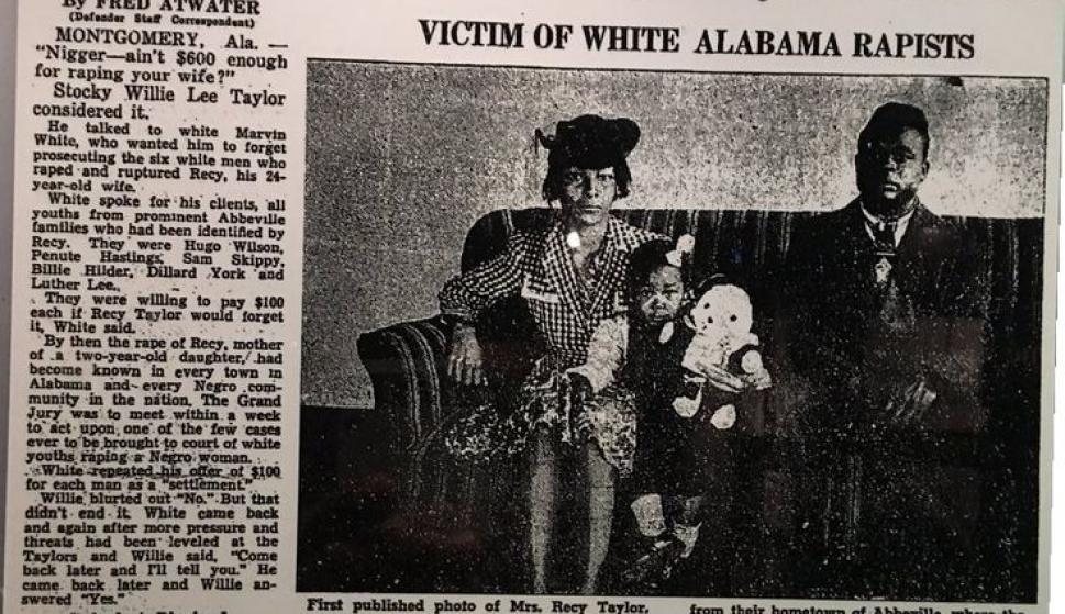 Portada de un diario de la época sobre la violación a Recy Taylor.