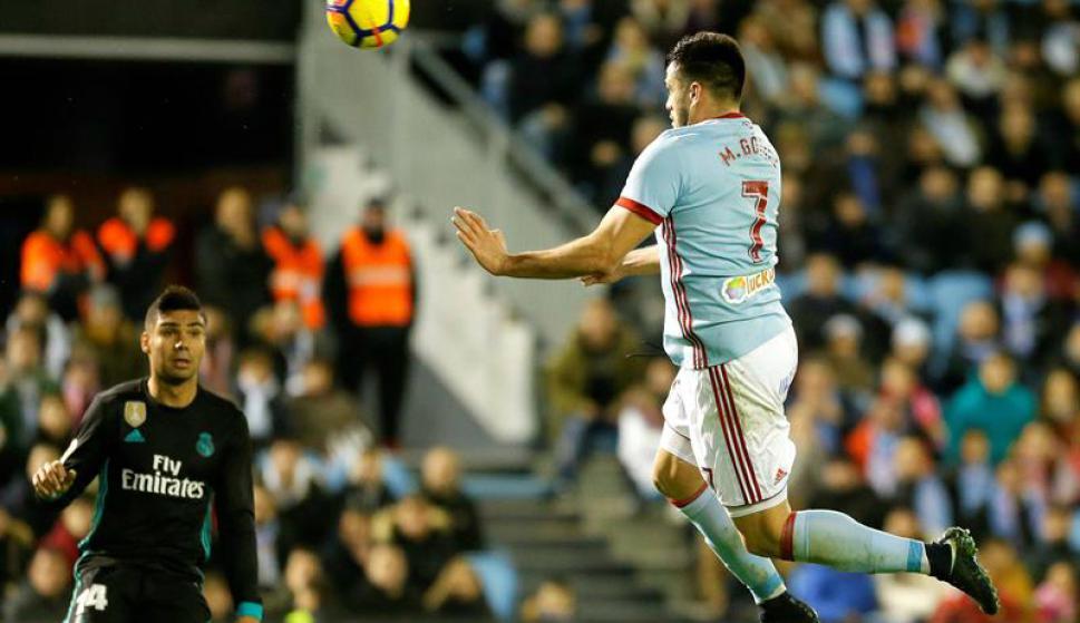 El cabezazo de Maxi Gómez para el 2-2 ante Real Madrid. Foto: EFE