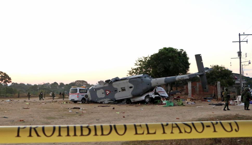 Helicóptero cayó en México. Foto: AFP