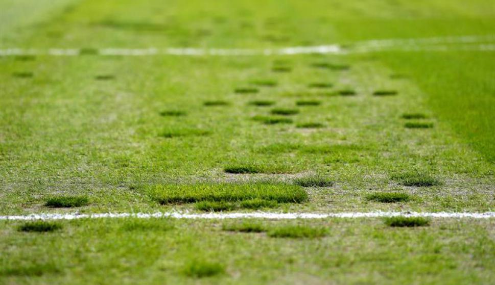 Así estaba la cancha del Borussia Mönchengladbach. Fotos: EFE