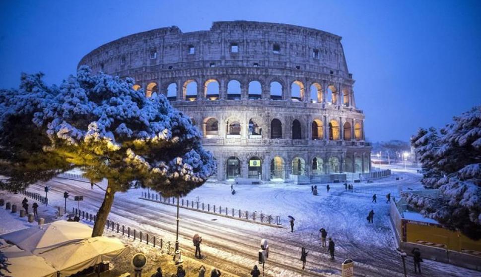 (Videos) Roma: Vuelve a nevar luego de seis años