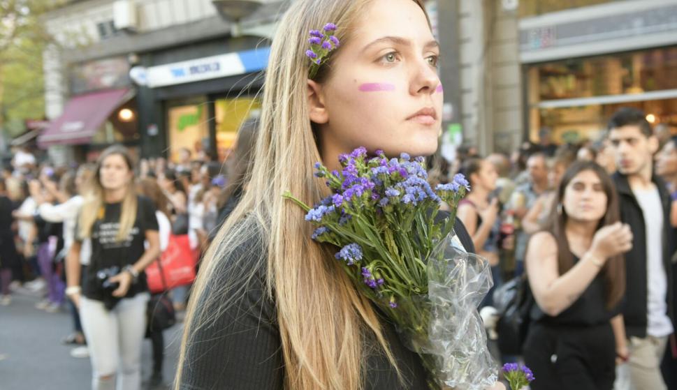 Macha en 18 de Julio por el Día Internacional de la Mujer. Foto: Marcelo Bonjour