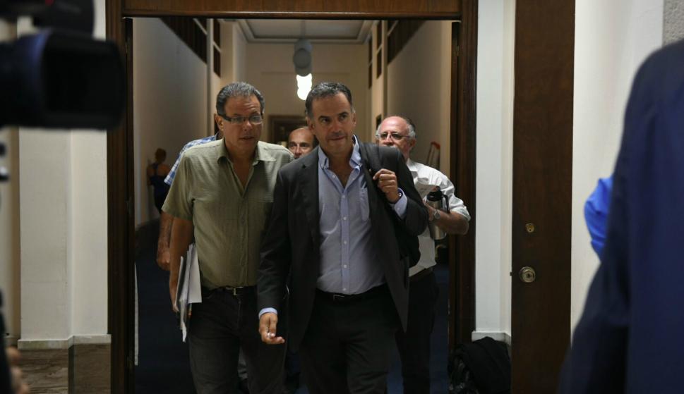 Orsi y Aníbal Pereyra, intendente de Rocha, en el Congreso de Intendentes. Foto: Ariel Colmegna.