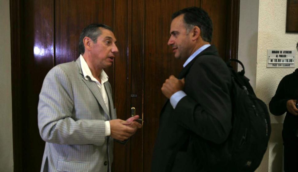 Enciso y Yamandú Orsi, intendente de Canelones, en el Congreso de Intendentes. Foto: Ariel Colmegna.