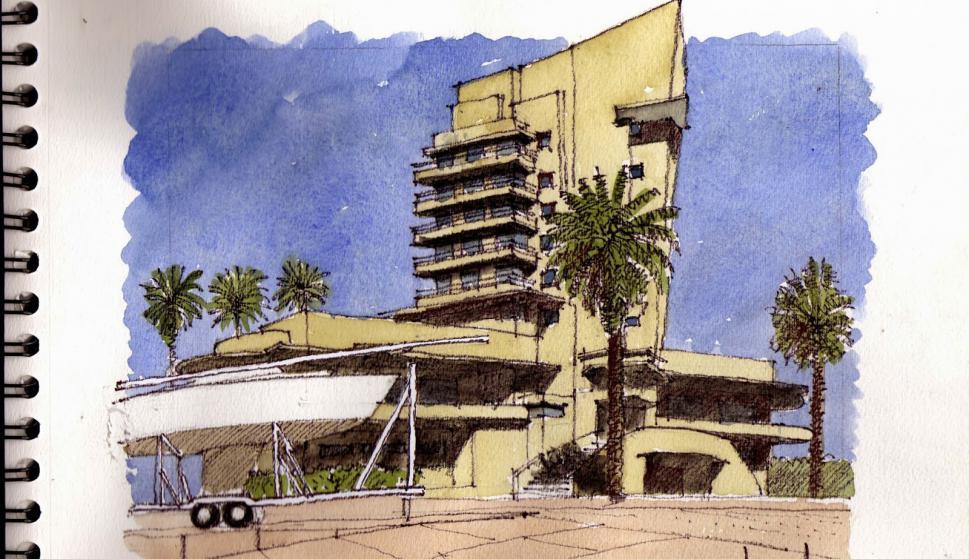 Edificio del Yacht Club. Puerto del Buceo. (Andrés Nogués)