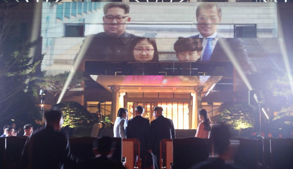 Kim Jong-un fue despedido a toda pompa por el surcoreano Moon Jae-in tras su encuentro. Foto: AFP