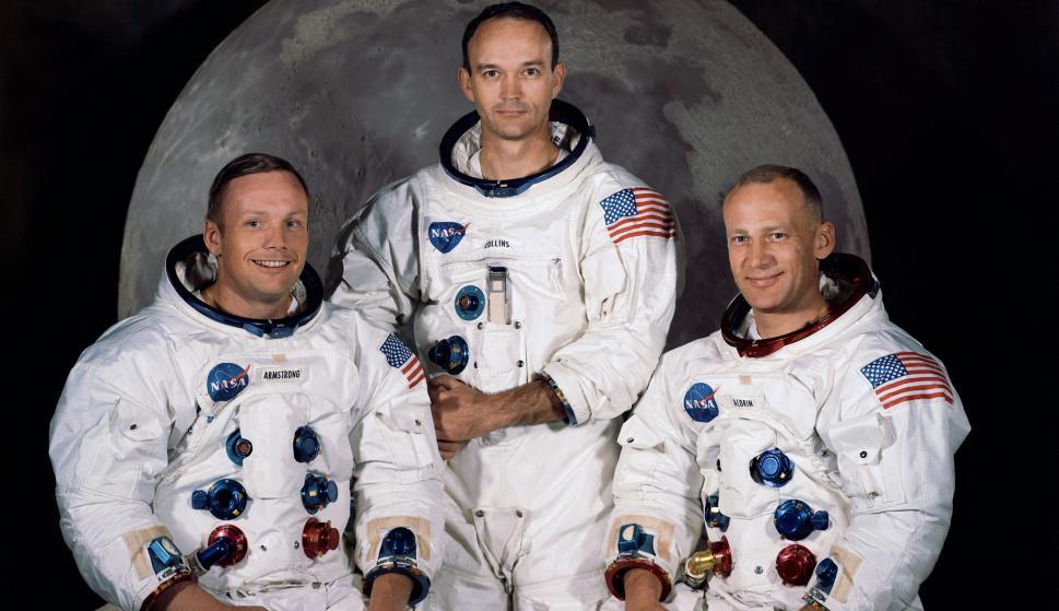 Neil Armstrong, Michael Collins, Buzz Aldrin, la tripulación del Apolo 11. Foto: Wikipedia