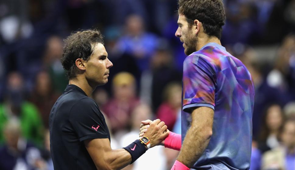 Rafael Nadal y Juan Martín del Potro en la semifinal del US Open en 2017. Foto: EFE.