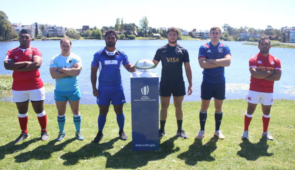 Los capitanes de los seis equipos en la presentación del Americas Pacific Challenge. Foto: Prensa URU.