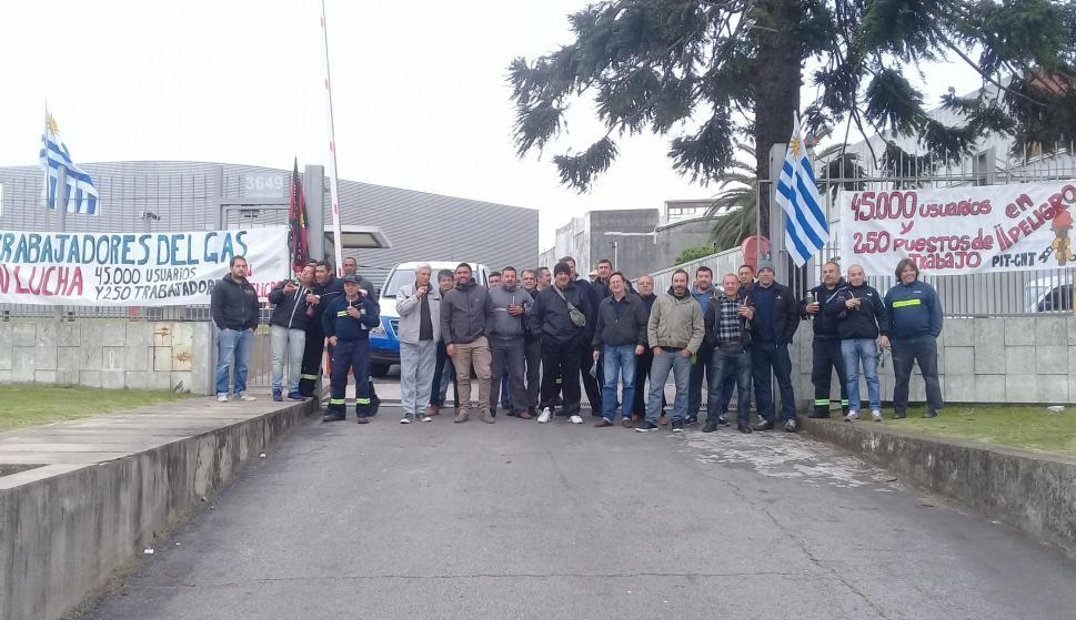 Trabajadores del gas ocupan oficinas de MontevideoGas. Foto: sindicato del gas