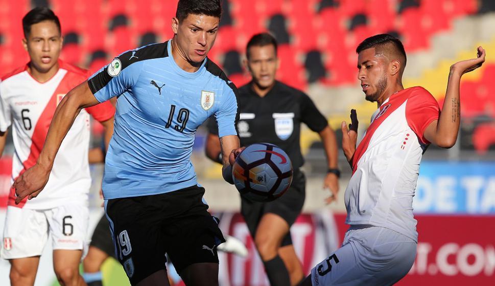 Darwin Núñez en el Uruguay vs. Perú del Sudamericano Sub 20. Foto: AFP