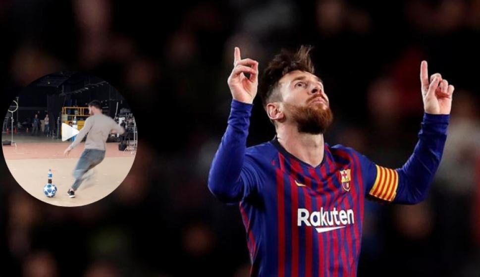 Lionel Messi y una jugada imposible en el backstage. Fotos  Captura   EFE c3e17753e72