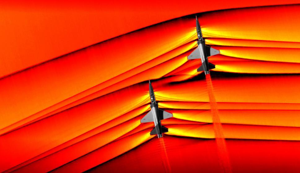 Dos jets rompen la barrera del sonido. Foto: La Nasa /AFP