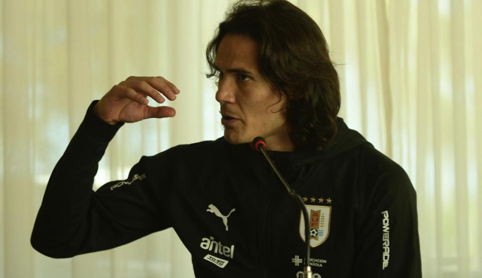 Edinson Cavani en conferencia de prensa. Foto: Gerardo Pérez.