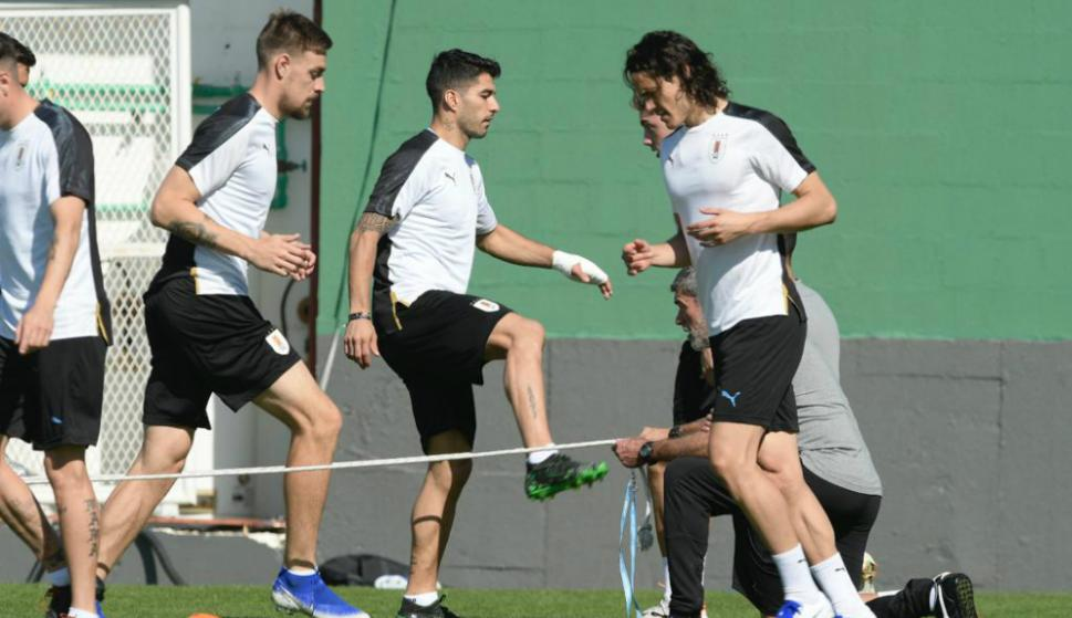 Selección de Uruguay último entrenamiento antes de enfrentar a Chile