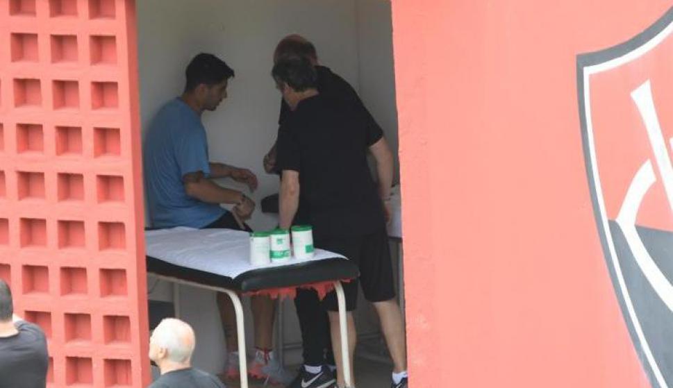 La Celeste trabajando en el estadio de Vitoria