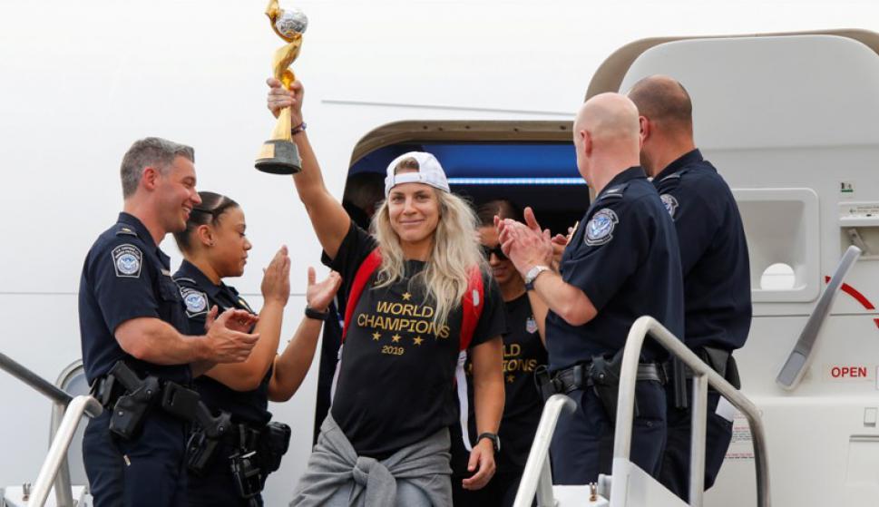El festejo de las campeonas en Nueva York. Foto: Reuters.