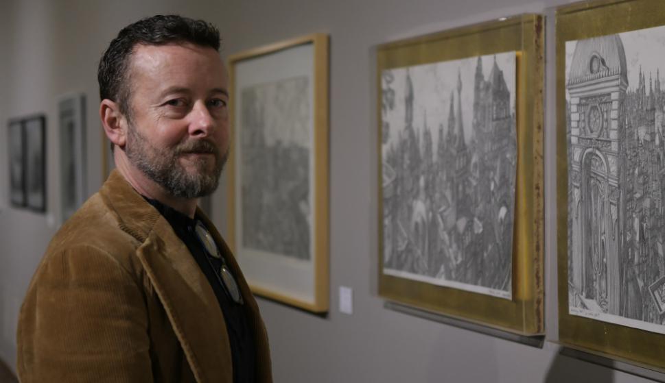 Alfredo Ghierra en el Museo Nacional de Artes Visuales. Foto: Francisco Flores
