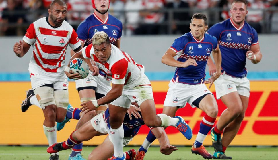 Japón le ganó a Rusiaen el partido inaugural del Mundial de Rugby. Foto: AFP.