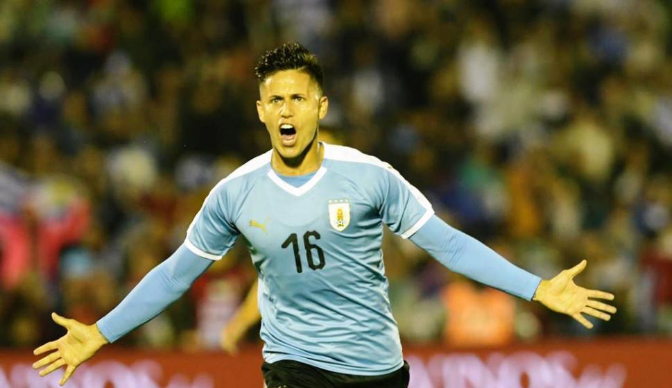 Brian Rodríguez marcó el 1-0 para Uruguay. FOTO: Gerardo Pérez.