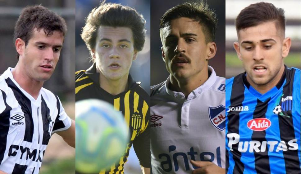 Francisco Ginella (Wanderers), Facundo Pellistri (Peñarol), Gabriel Neves (Nacional) y Nicolás Acevedo (Liverpool), opciones a futuro. Foto: Archivo El País.