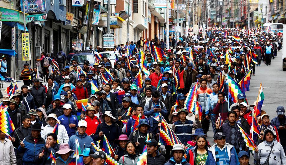 Movilización de partidarios del expresidente Evo Morales. Foto: Reuters