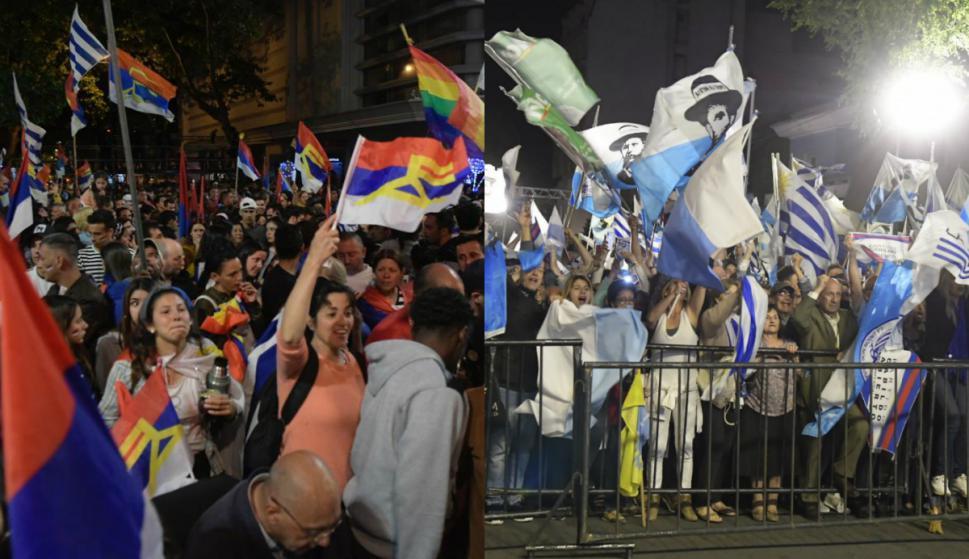 militantes del Frente Amplio y el Partido Nacional