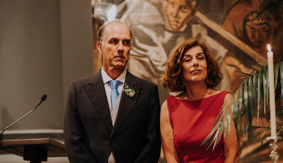 Los padrinos Mauricio Machado, Claudia Weiss.