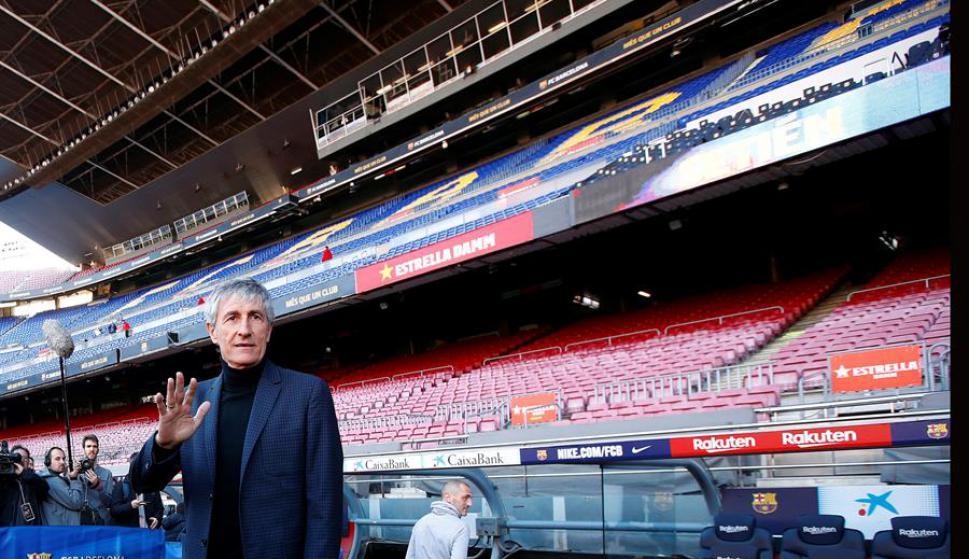 Quique Setién fue presentado como nuevo entrenador del Barcelona. Foto: EFE.