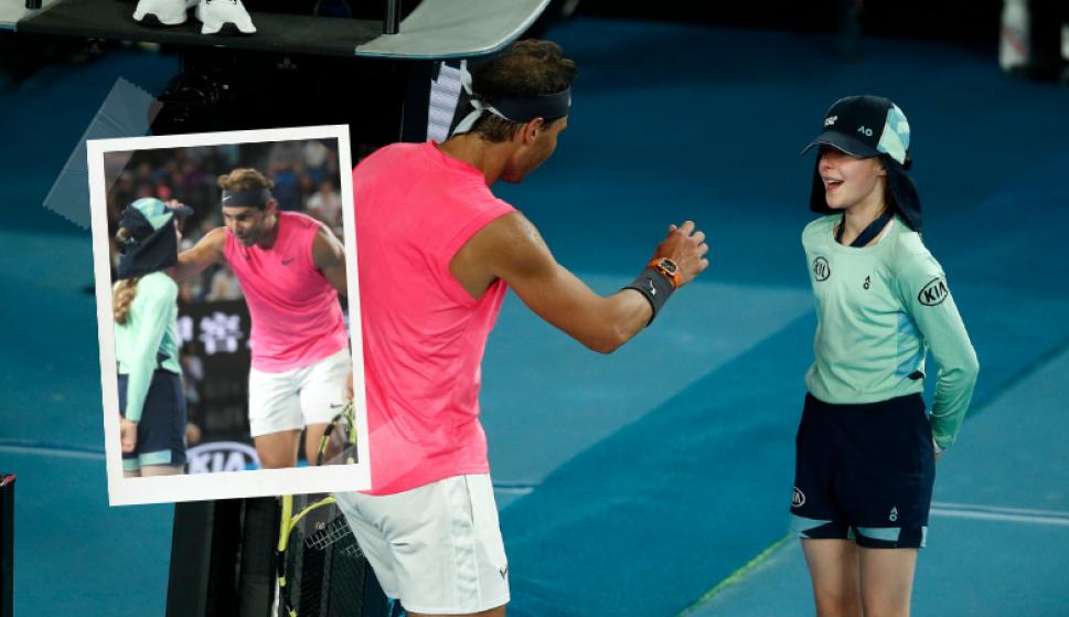 """""""Me asusté por ella"""", el bonito gesto de Rafa Nadal con una niña alcanza-pelotas . Fotos: Reuters"""