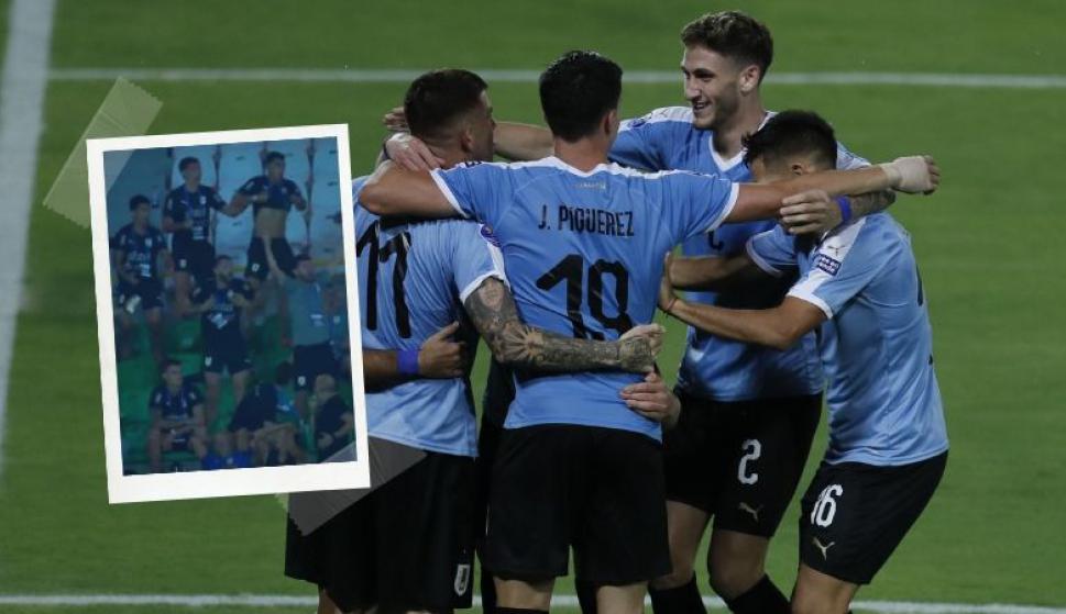 El loco festejo de los jugadores de la selección uruguaya Sub 23 tras el gol de Perú a Bolivia. Fotos: Captura y EFE