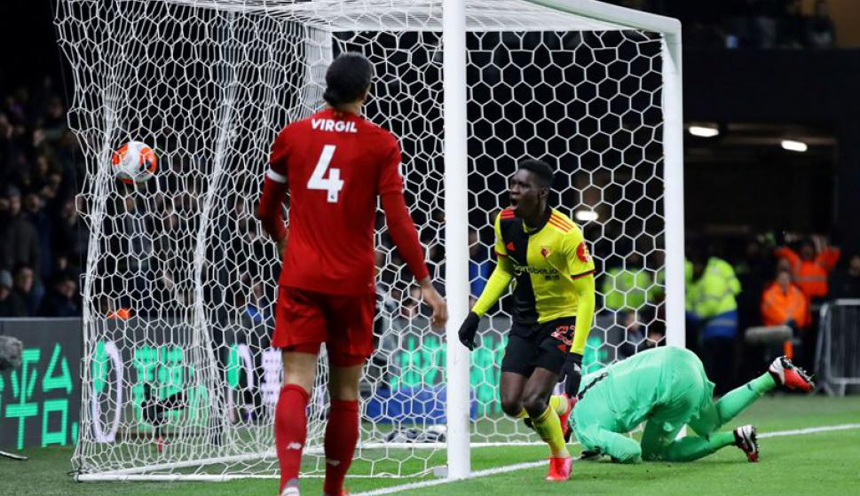 Watford venció al Liverpool por 3-0 en la Premier League. Foto: Reuters.