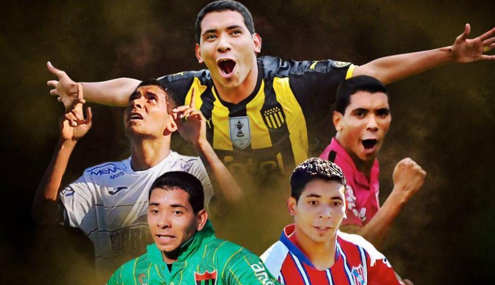 Cristian Palacios y las cinco camisetas que utilizó en la última década en el fútbol uruguayo. Montaje: Estefanía Leal.