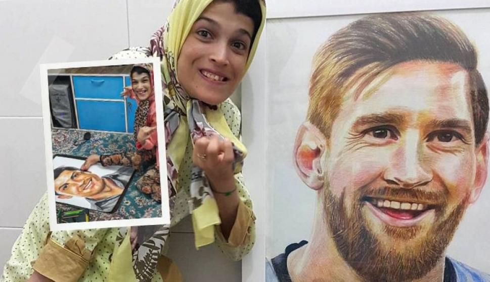 Fateme Hamami: la artista con parálisis en el 85% del cuerpo que retrató a Messi y CR7