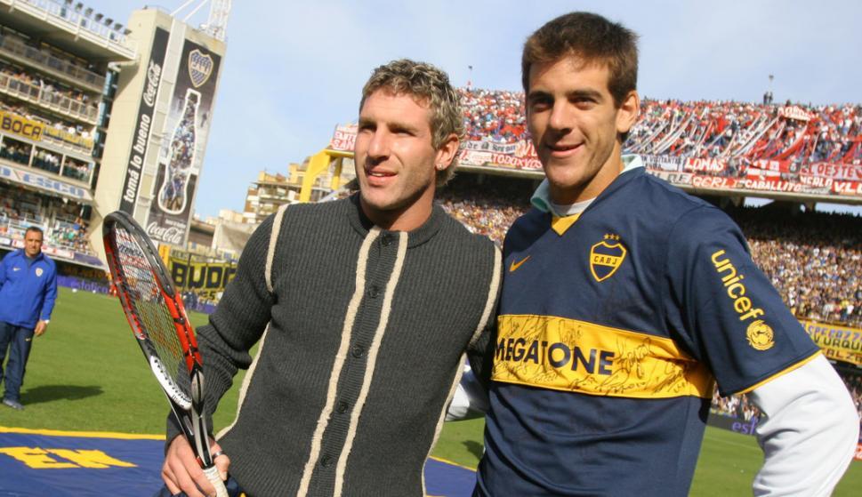 Martín Palermo y Juan Martín del Potro. Foto: Clarín.