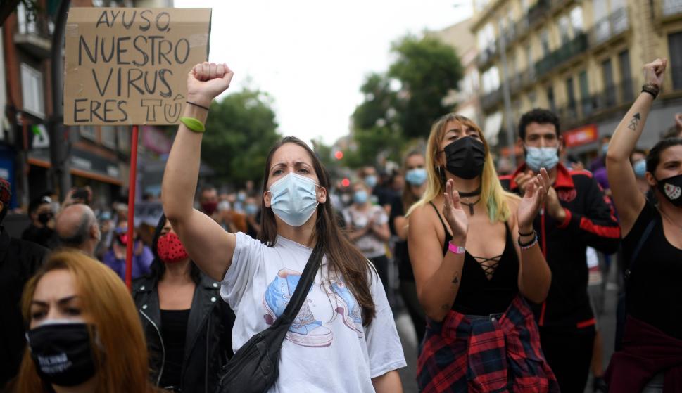Protestas en Madrid por regreso a zonas de confinamiento – 21/09/2020